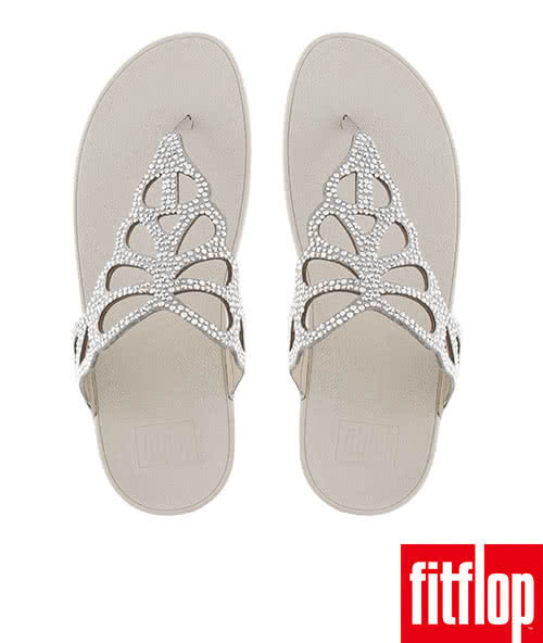 【FitFlop TM】BUMBLE TM CRYSTAL TOE-THONG SANDAL(銀色)