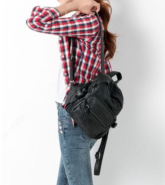 後背包 學院風素色簡約水洗軟皮雙肩包 艾爾莎【TBB6828】