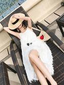 海南三亚巴厘岛沙滩裙女海边度假裙泰国连衣裙显瘦白色吊带长裙夏『艾麗花園』
