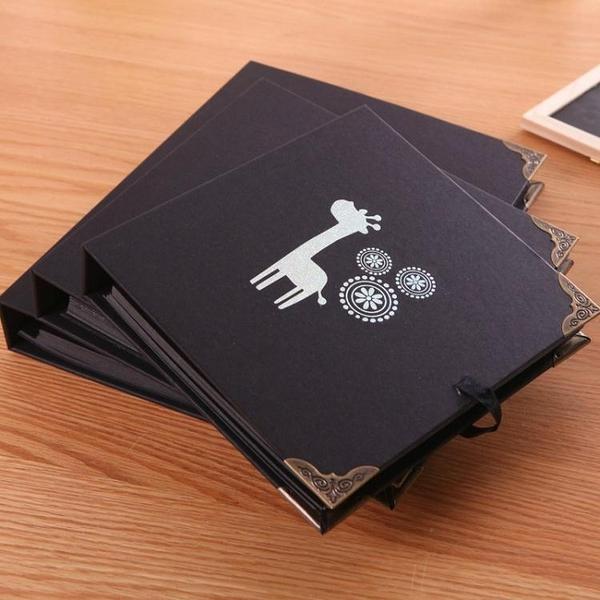 相冊影集紀念冊記事本空白黑卡紙內頁日記本子相冊DIY黑色圖畫筆記本【快速出貨】
