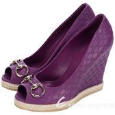 GUCCI 紫色雙G LOGO壓紋魚口露趾麻編楔型鞋 1320346-04