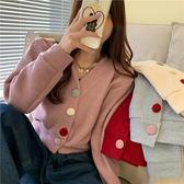 VK精品服飾 韓國風撞色彩扣V領毛呢短款外套單品長袖上衣