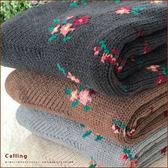 襪子小花雙層針織保暖室內襪地板襪三色Calling