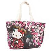 〔小禮堂〕Hello Kitty 帆布手提袋《黑粉.戴帽和服》便當袋.外出袋 4582135-13263
