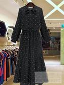 雪紡連身裙 2019秋季新款雪紡波點裙子氣質顯瘦黑色長袖連衣裙女秋裝百褶長裙 玫瑰