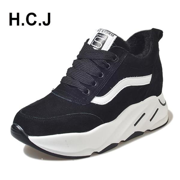 增高鞋秋季新韓版百搭內增高休閒鞋女單鞋運動高筒厚底鬆糕鞋黑色