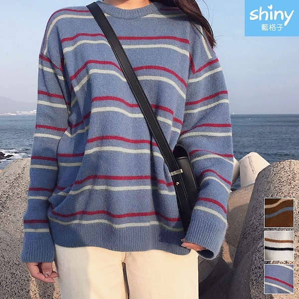 【V3226】shiny藍格子-百搭入秋‧圓領條紋配色寬鬆長袖針織上衣