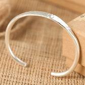 925純銀手環-簡約壓花開口生日情人節禮物女飾品73nc16[時尚巴黎]