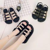2018涼鞋女韓版鞋中跟學生平底厚底沙灘鞋