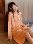 秋季針織連身裙長袖韓版寬鬆中長款彩色扣小清新打底毛衣裙子春季新品