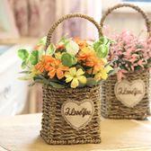 假花盆栽 絹花花束塑膠仿真假花花藝套裝家居飾品擺件擺設客廳編織小花盆栽 伊羅鞋包