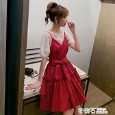 氣質連衣裙女神范夏裝2021新款上衣收腰吊帶裙兩件套洋氣減齡套裝 茱莉亞