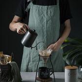純亞麻圍裙韓版廚房女士成人餐廳奶茶店男女工作服 小巨蛋之家
