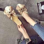 蝴蝶結包頭半拖鞋女平跟外穿時尚百搭懶人拖