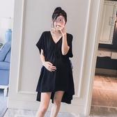 初心 洋裝 【D8211】 V領 高腰 綁帶 寬袖 洋裝 短袖洋裝 娃娃裙