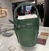 ■專櫃81折■Celine 瑟琳 平滑小牛皮袖珍型 Nano Bucket 2用包 孔雀石色