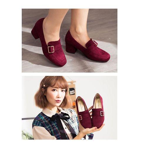 【ORiental TRaffic】時髦釦飾方頭中跟樂福鞋-魅力紅