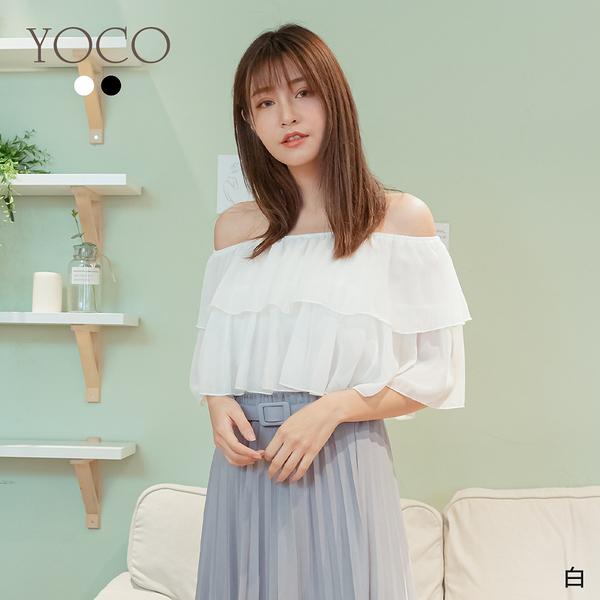 東京著衣【YOCO】浪漫來襲多層荷葉一字領上衣(200365)