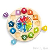 積木時鐘木鐘模型兒童玩具寶寶親子互動早教拆裝立體拼板1-3「潔思米」
