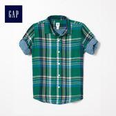 Gap男童 休閒格紋可卷長袖襯衫 370543-綠色格子花呢