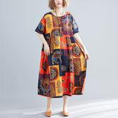 全網批發2千免運大碼女裝短袖洋裝935文藝風大碼胖MM200斤寬松印花連身裙ZM3FC005朵維思