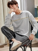 男士睡衣純棉春秋季長袖全男式冬季青少年秋冬款天休閒家居服套裝 韓國時尚週