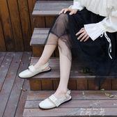 大白手制春夏新2018娃娃頭低跟方頭平底金屬扣女涼鞋C108   米娜小鋪