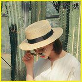 凹造型百搭平頂草帽女天蝴蝶結麥稈草帽小清新太陽帽遮陽
