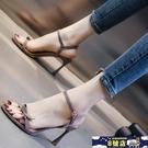高跟涼鞋女細跟2021夏新款性感百搭一字帶女鞋蝴蝶結仙女風高跟鞋 8號店