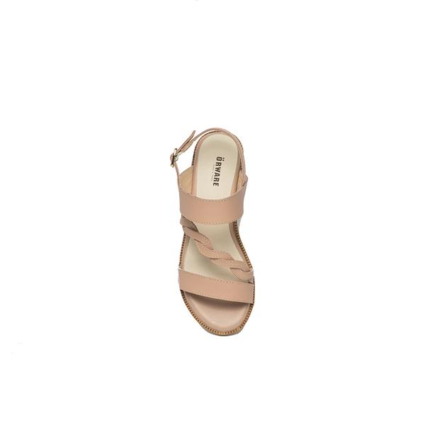 ORWARE-春夏暖心編織帶增高涼鞋651023-26杏