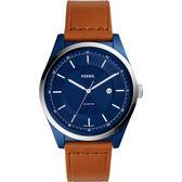 FOSSIL MATHIS 城市時尚手錶-藍x咖啡/45mm FS5422