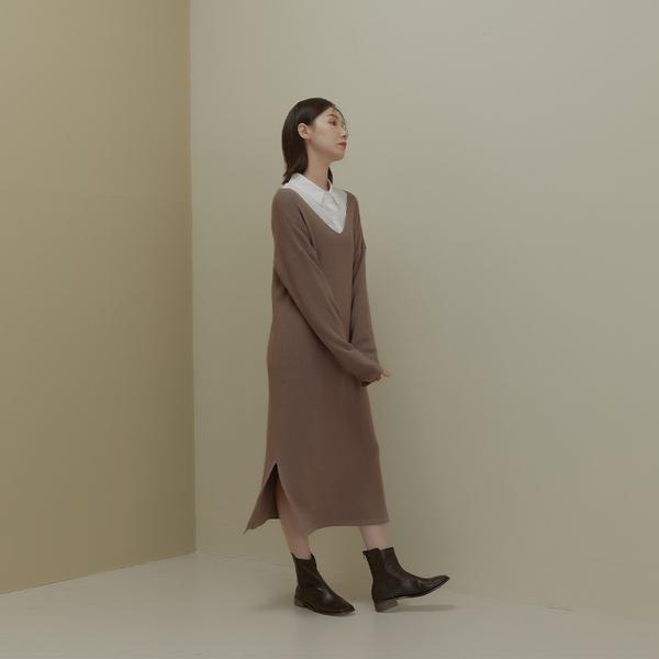 Queen Shop【01085744】V領側開衩造型針織洋裝 兩色售*現+預*