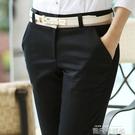 黑色工作褲子女夏2020新款薄款寬鬆直筒顯瘦百搭職業休閒長西裝褲 依凡卡時尚