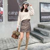 港味復古豹紋A字半身裙子女秋冬裝高腰顯瘦包臀短裙 星辰小鋪
