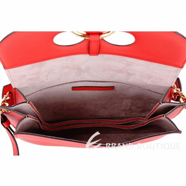 J.W. Anderson Pierce 中型小牛皮兩用鼻環包(紅色) 1830028-E4