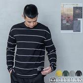【OBIYUAN】長袖T恤 條紋 寬鬆 開衩 長袖衣服 薄長T 共4色【X605】