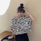 【Charm Beauty】斑馬紋 t恤 女短袖 夏裝 2021年 新款 網紅 韓版 寬鬆 半袖短款 上衣服ins潮
