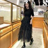 洋裝 蕾絲 紗裙 連身裙 不規則 網紗蛋糕裙 小黑裙 甜美 長裙 黑灰兩色