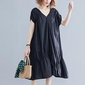 短袖連身裙-V領不規則下擺黑色女洋裝73xz7【巴黎精品】