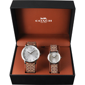 COACH 經典印花手錶 對錶-銀/40+28mm CO14000057