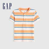Gap 男幼童 清爽條紋亨利領短袖T恤 584574-橙色
