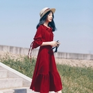 洋裝 紅色雪紡洋裝秋季2019新款法式桔梗裙顯瘦長袖氣質小個子裙子女