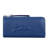 LONGCHAMP Le Foulonne浮雕賽馬logo荔枝紋皮革L型拉鍊長夾零錢包皮夾錢包證件包(深藍)480806-127