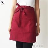 韓版時尚半身圍裙工作咖啡店廚師餐廳服務員廚房超市定制logo 藍嵐