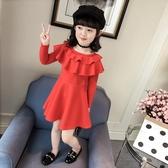 女童秋裝2018新款韓版裙子兒童中大童長袖連身裙春秋款紅色公主裙