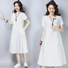 【名模衣櫃】復古-棉麻條紋連衣裙-白色-...