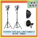 APUTURE 愛圖仕 AMARAN 100D LED持續燈 + 280CM 燈架 + Light Dome mini II 柔光罩 + Lantern 燈籠球 雙燈專業組