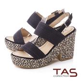 TAS寬版一字帶麻繩底台高跟涼鞋-性感黑