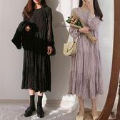 秋裝2019新款韓版氣質過膝雪紡中長裙子長袖內搭法式秋冬連衣裙女『艾麗花園』