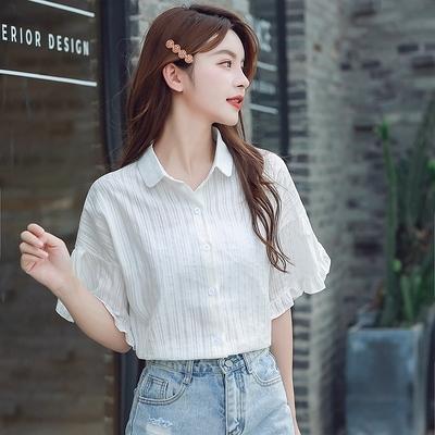 雪紡上衣 襯衫S-2XL8252白襯衣女荷葉邊上衣夏季設計感小眾日系氣質短袖襯衫潮T614韓衣裳